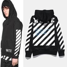 New Fashin OFF WHITE Basic Stripe Fleece Hoodies Sweatshirts Men Women Hip Hop Pullover Tracksuit Sweatshirts Outwear Jacket