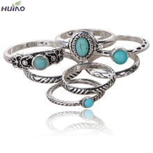 Antique ring 7pcs/set Black White Turquoise