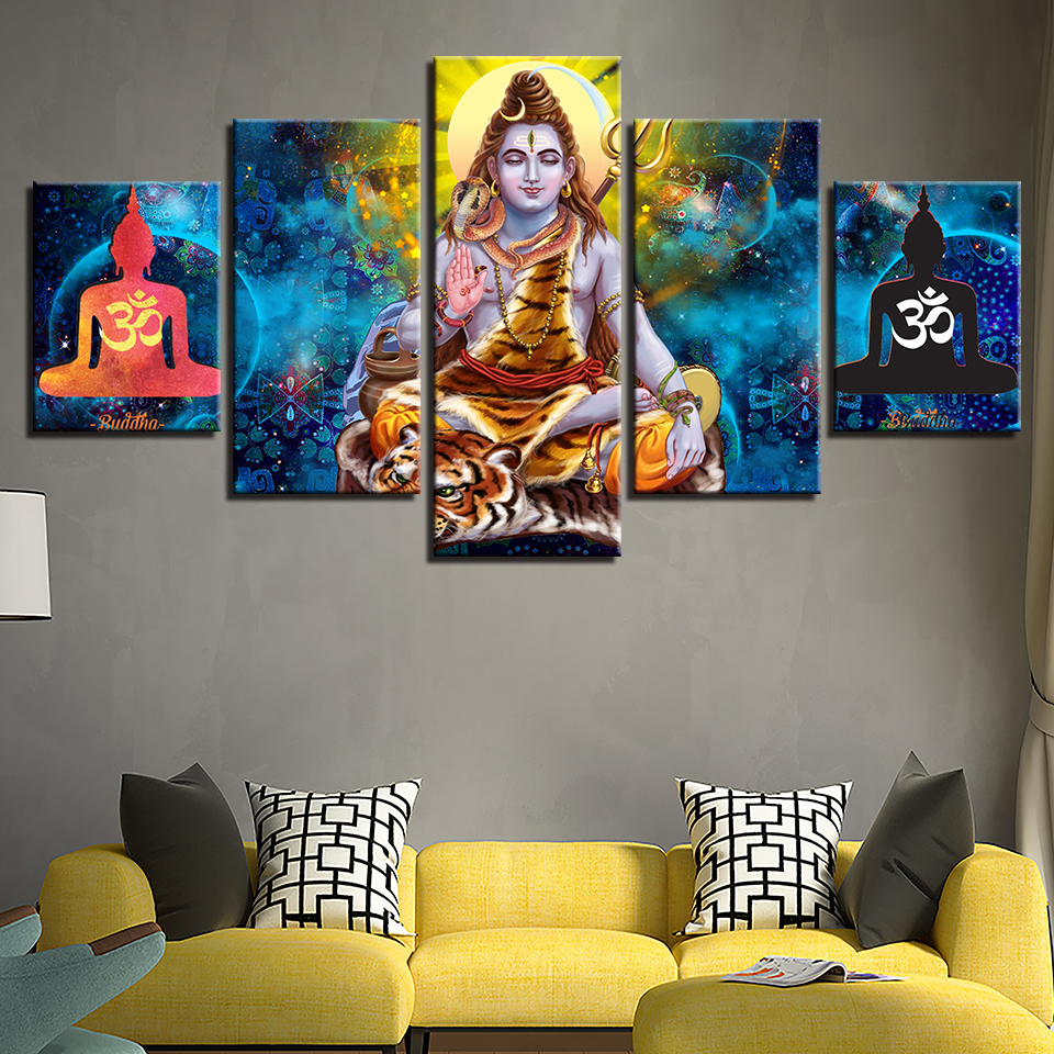 Canvas Pictures Poster Modular 5 Pieces Hindu God Lord Shiva Paintings HD Printed Art Framework Decoration Home Living Room Wall no frame canvas