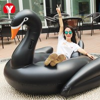 Riesige SCHWARZE SCHWAN Float Schwimmen Matratze 190 cm schwarz schwan für erwachsene riesigen aufblasbaren schwimmen spielzeug aufblasbare schwan für pool