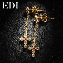 EDI Women Elegent Natural Ruby Cross Drop Wedding Earring 14K 585 Yellow Moissanite Dangle Earrings For Fine Jewelry GZE0022