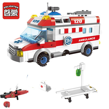 Enlighten 328pcs City Ambulance Car Building Blocks Sets Figures Playmobil DIY Creator Bricks Educational Toys For Children 614pcs city engineering excavator construction building blocks sets figures diy bricks creative educational toys for children