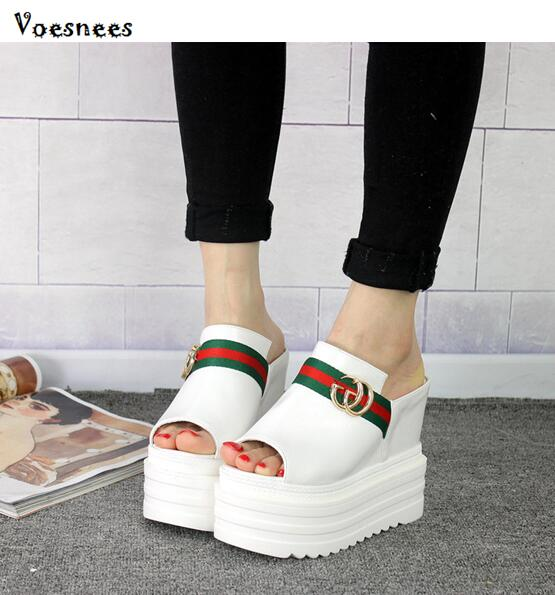 2018 New Summer Women Slippers Suede Leather Platform Shoes Women Wedges Female Slippers Slides Sandals Casual Beach Shoes White new syma x8hw x8w upgrade fpv rc quadcopter drone with wifi camera 2 4g 4ch 6 axis rc helicopter automatic air pressure high