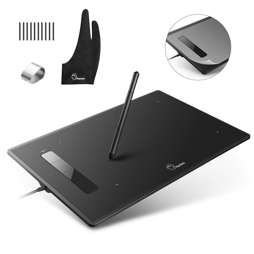 Parblo Island A609 tablette graphique numérique dessin tableau de peinture avec stylo sans batterie + gant + pointes de remplacement + protecteur d'écran