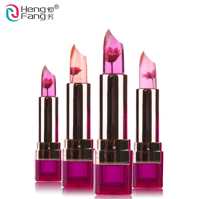 hengfang brand Temperature-changed jelly Lipstick long lasting moisturizing Lip Balm waterproof Makeup flower Lipstick