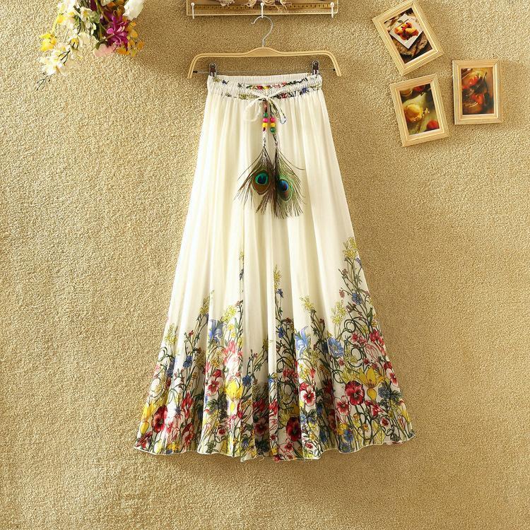 Hot New 2018 National wind Bohemia chiffon Print skirt in the big swing fairy Chiffon ruffles female long