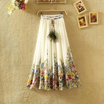Hot New  National wind Bohemia chiffon Print skirt in the big swing fairy Chiffon ruffles female long