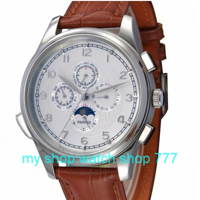 44 mm PARNIS phases of the moon show that automatic mechanical watch High quality 2016 new