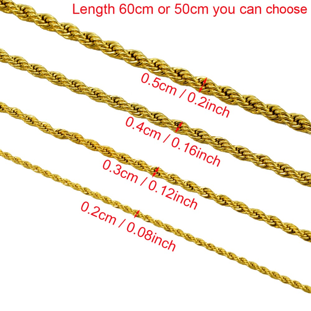 Anniyo ONLY ONE PIECE,Men Gold Necklace,50CM/60CM Chain for Women,Gold Color Africa Jewelry,Arab Chains,Ethiopian #001216