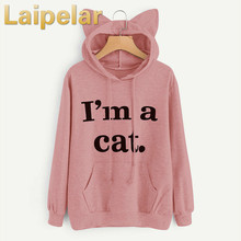 Laipelar 2018 Women Casual Hoodies Sweatshirt Long Sleeve Hoody Cat Ears I AM A CAT Printed Hoodies Tracksuit Jumper Outwear Top i am a cat plaid insert sweatshirt