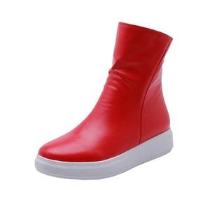Image 3 - MORAZORA 2020 nuove donne di arrivo stivaletti stivali dellunità di elaborazione punta rotonda stivali autunno della chiusura lampo semplice confortevole casuale scarpe basse donna rosso