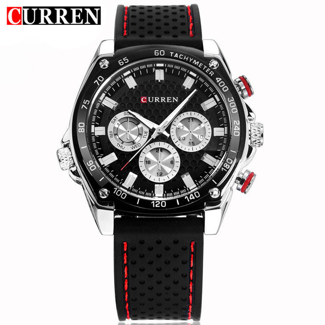 CURREN Luxury Brand Silicone Strap Watches Analog Date Men's Quartz Watch Casual Watch Men Wristwatch relogio masculino 8146 skmei luxury brand stainless steel strap analog display date moon phase men s quartz watch casual watch waterproof men watches