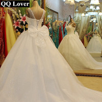 QQ Lover 2018 New African Wedding Dress Elegant Crystals Beaded Custom made Plus Size Bride Wedding Gown Vestido De Noiva