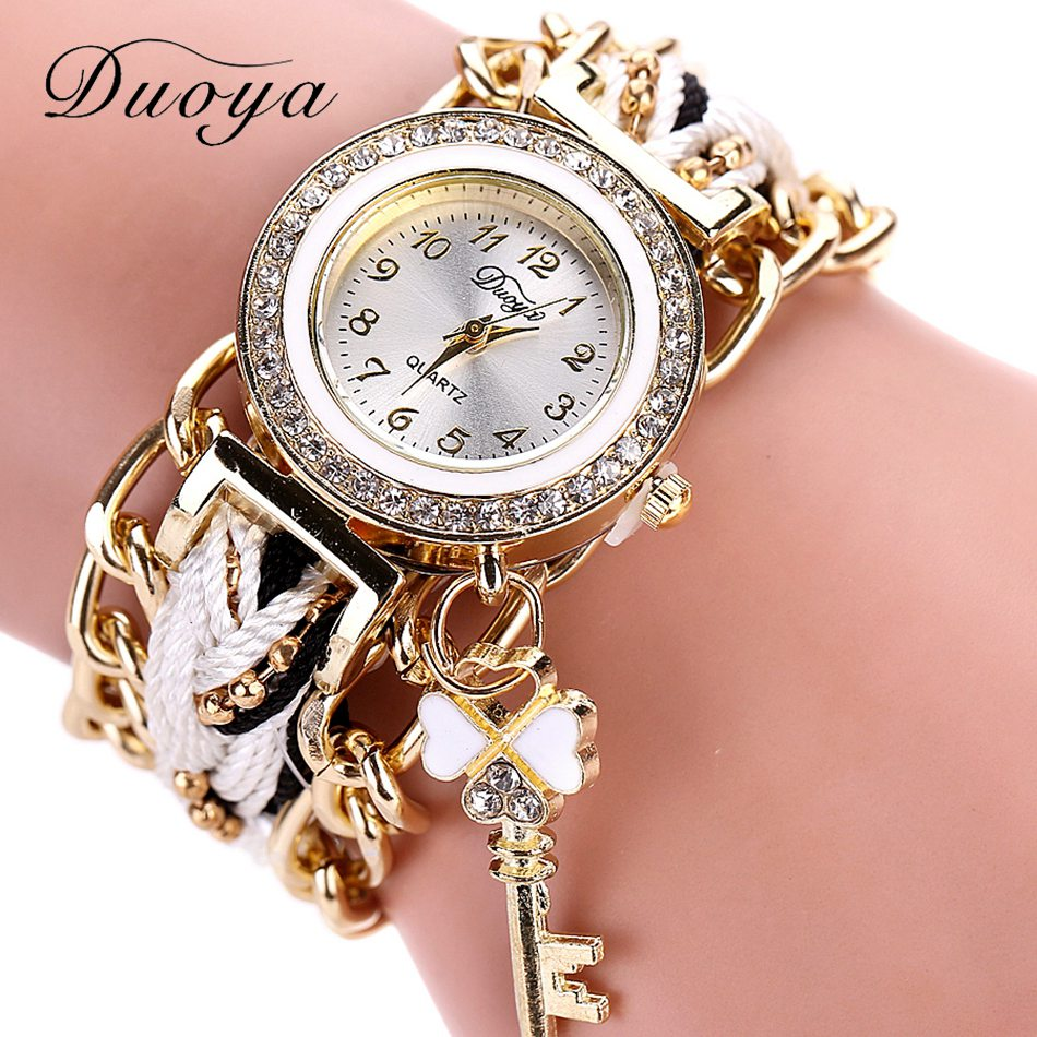 Duoya Brand Fashion Ladies Watch Women Gold Weave Hand Ribbon Bracelet Wrist Watches ForWomen Luxury Crystal Quartz Watch popular brand watch women gold bracelet weave leather