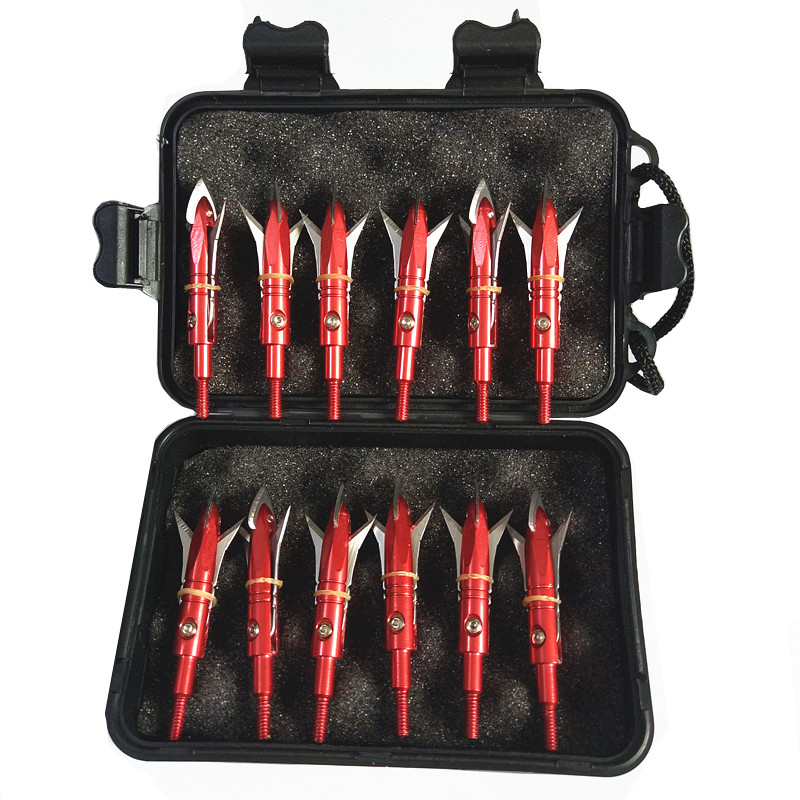 "12PCs Archery Broadhead Crossbow Arrowheads Screwed Points 100 Grain 2.3"" Cut Sharp Blades for Hunting with box"
