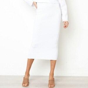 Image 4 - Damska Bodycon długa spódnica wysokiej talii obcisłe długie spódnice Club Party ołówek Casual W729