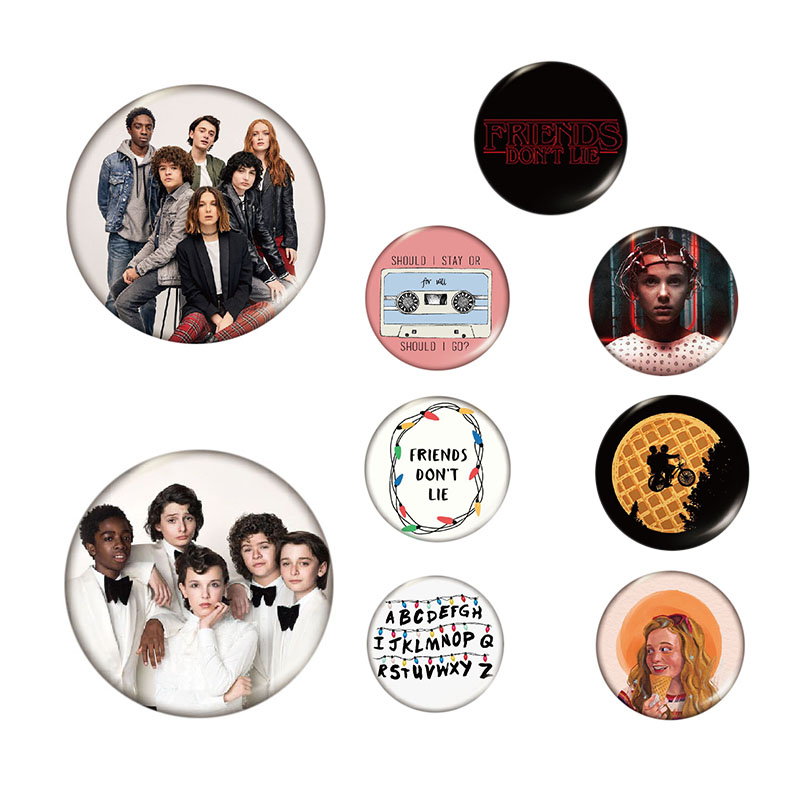 STRANGER THINGS <font><b>Pins</b></font> <font><b>Button</b></font> TV Series Eleven Brooch Friends Don't Lie Badge Denim Shirt Lapel <font><b>Pin</b></font> Gothic Jewelry Gift for Fans image