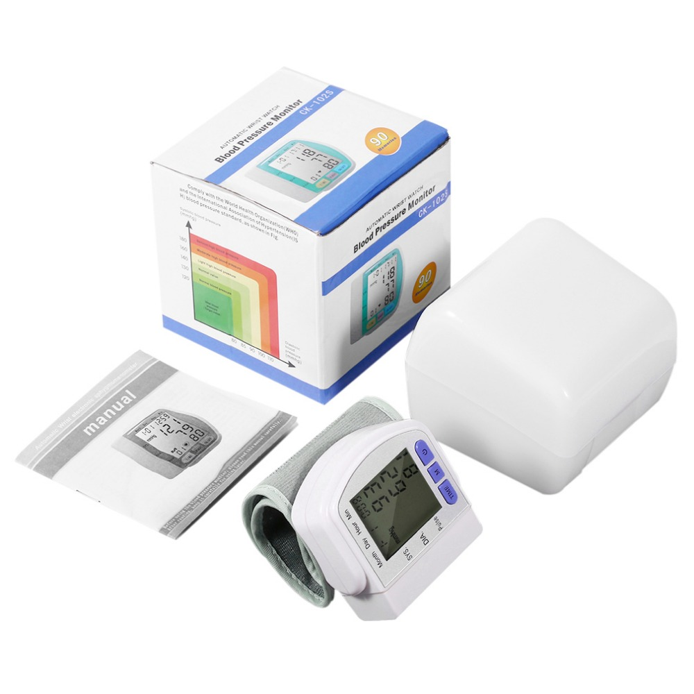 Digital LCD Automatische Handgelenk-blutdruckmessgerät Messung Gerät Herz-schlag-messinstrument Pulsoximeter Gesundheitswesen Tonometer + Box