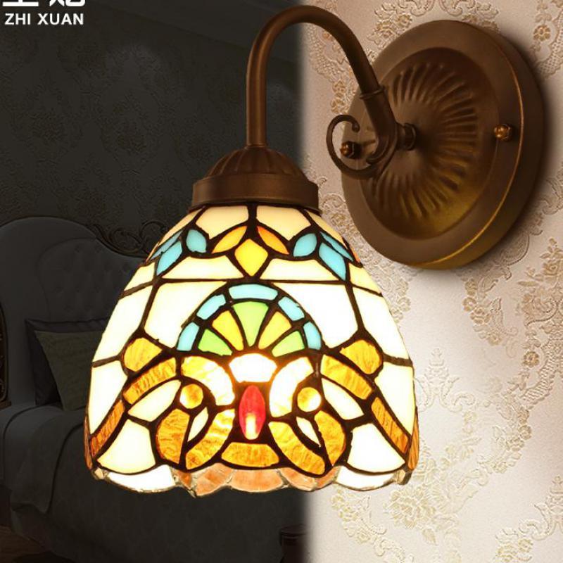 Европейский Стиль барокко Стекло бра с выключателем для Гостиная, Спальня проход коридор крючок, кафе N1502