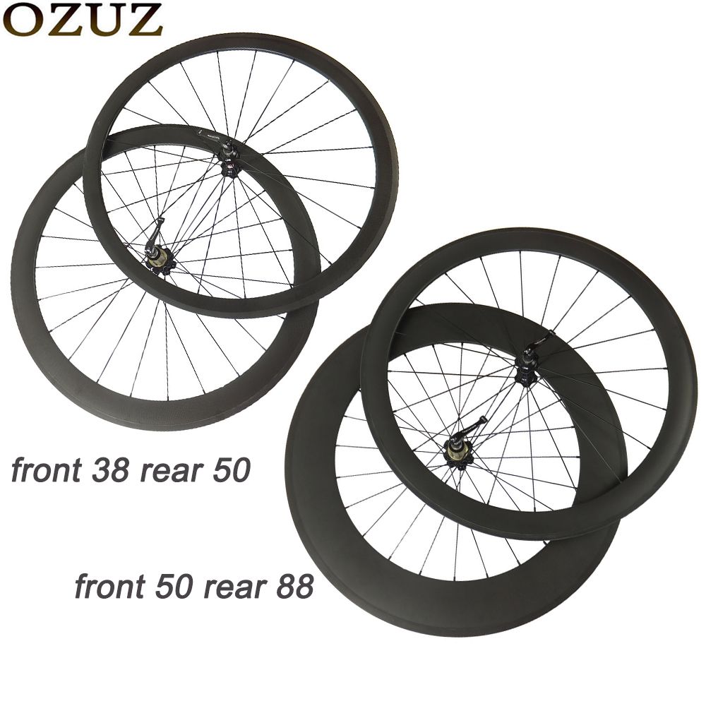 OZUZ 38mm 50mm 88mm carbon fiber wheelset 23mm clincher tubular road bicycle wheels 700C V brake front and rear standard wheelOZUZ 38mm 50mm 88mm carbon fiber wheelset 23mm clincher tubular road bicycle wheels 700C V brake front and rear standard wheel