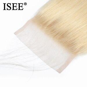 Image 4 - ISEE HAIR Straight 613 Bundles With Closure 3 Bundles Brazilian Hair Weave Bundles Virgin Human Hair Blonde Bundles With Closure