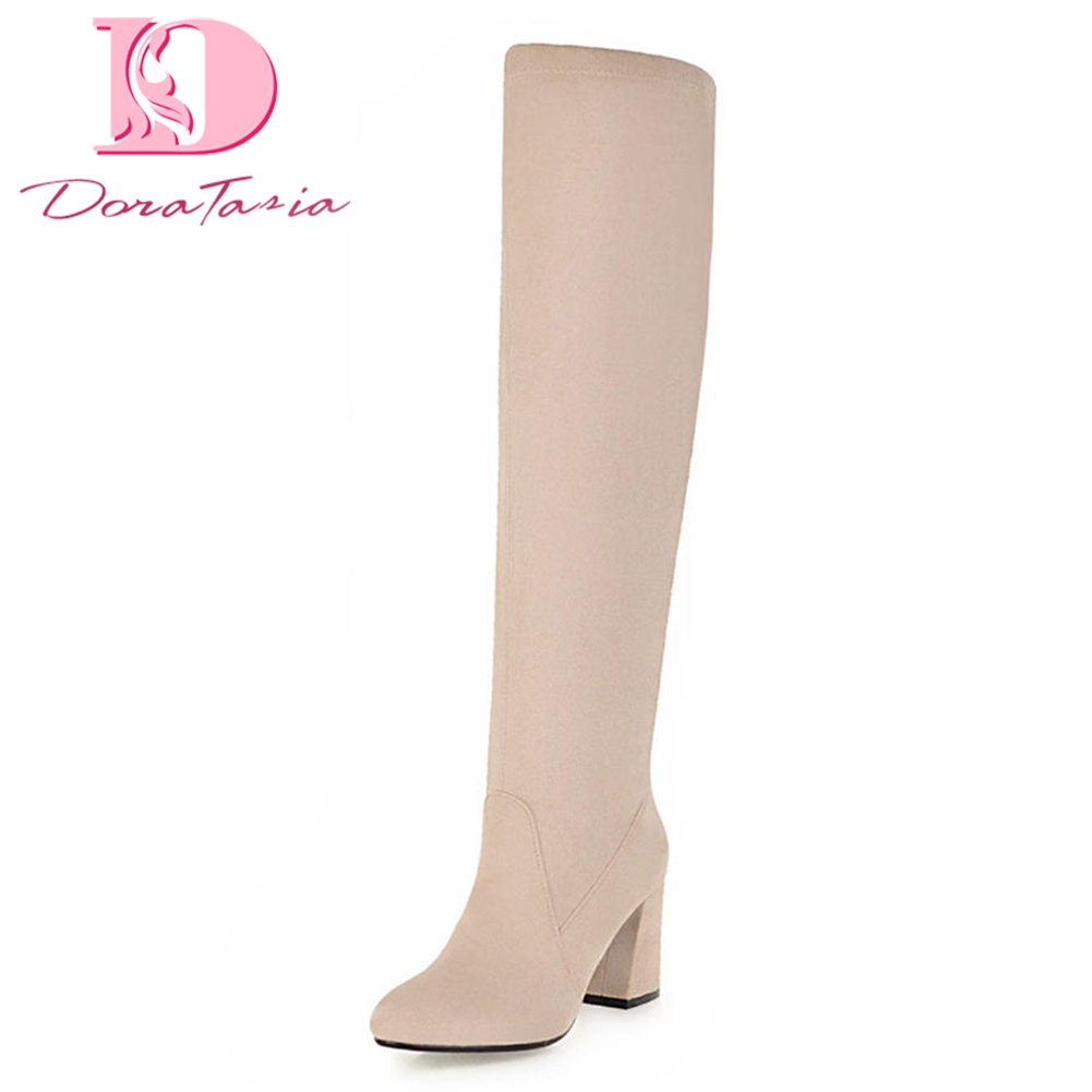 DoraTasia 2018 Plus Sizes 33-48 Add Fur Winter Boots Women Shoes knee-high Boots Fashion High Heels Woman Shoes Female Boot пижама с шортами с рисунком