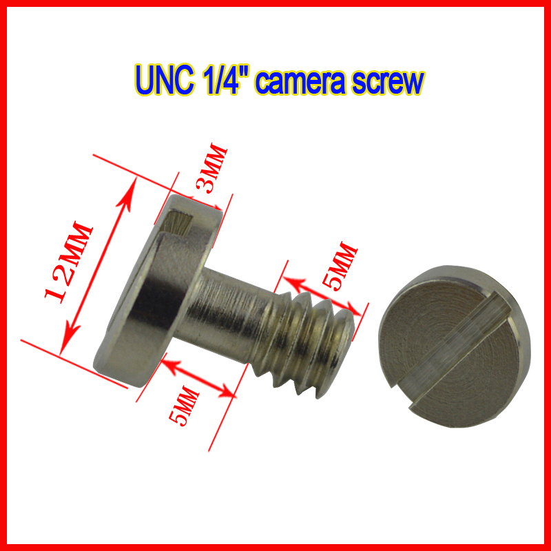 5pcs/lot Camera Photo Parts Accessories Universal Metal Slotted UNC1/4 Tripod Screw for Digital Camera Quick Release Plate