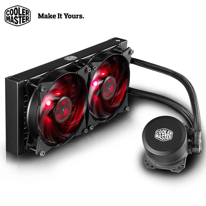Cooler Master B240 CPU Liquid Cooler 120mm Red LED quiet fan For Intel 1151 1150 2011 2066 and AMD AM4 CPU water cooler cooler master 240 cpu liquid cooler two 120mm quiet fan compatible intel 2066 115x amd am4 cpu water cooling fan cooler