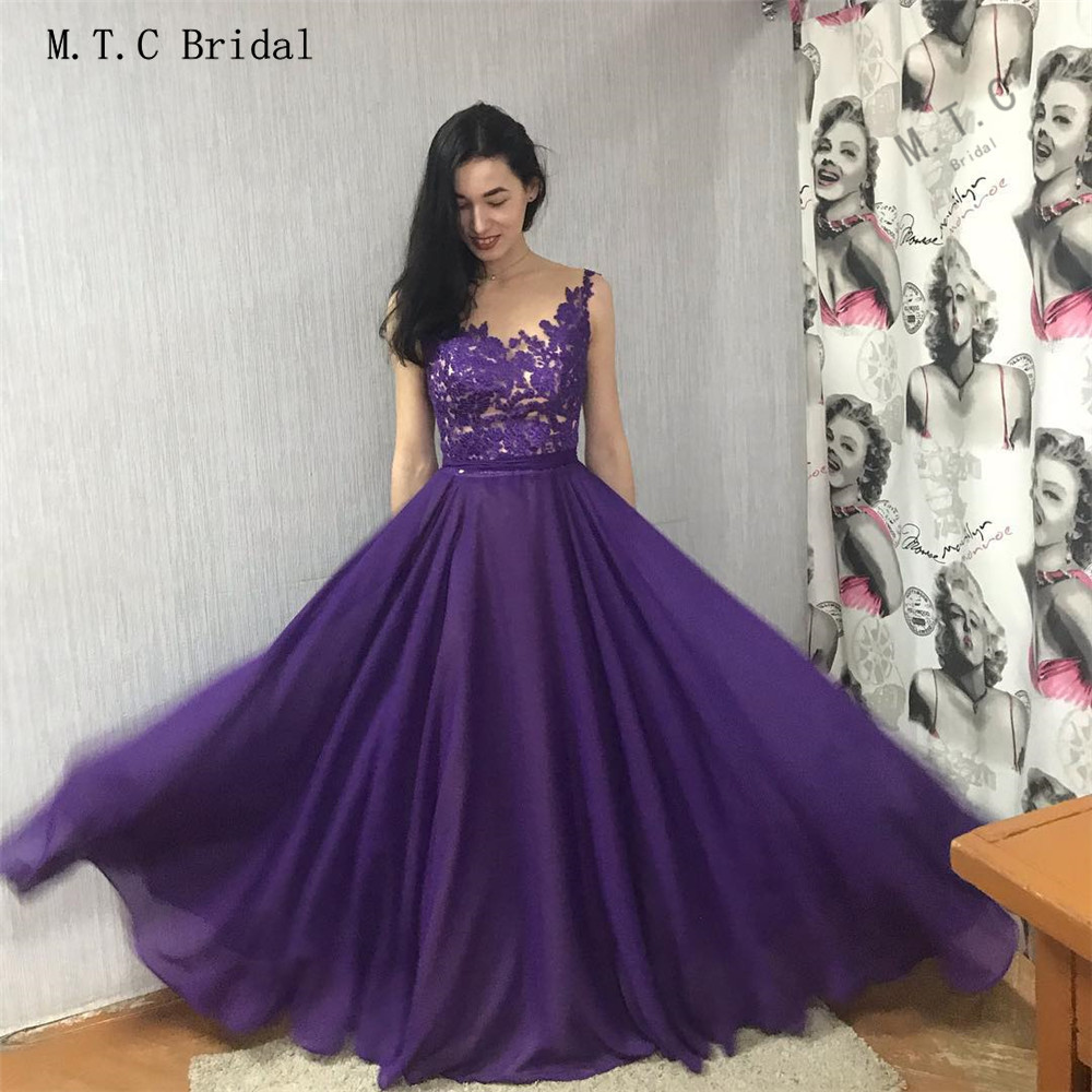 Long Graceful Purple   Prom     Dresses   2019 A Line Floor Length Elegant Illusion Chiffon Evening Gowns High Quality Women Party   Dress