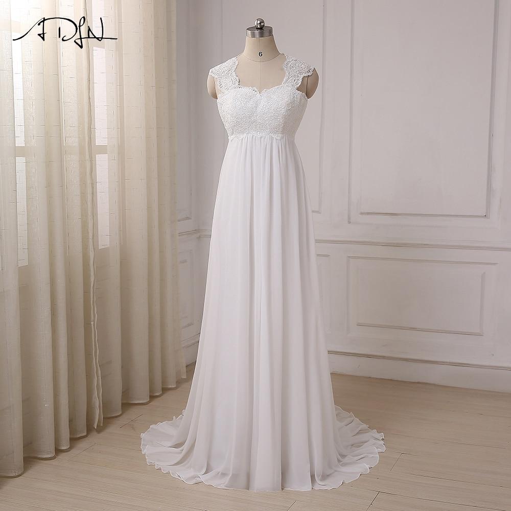ADLN 2019 재고 있음 쉬폰 비치 웨딩 드레스 Vestido De Noiva Cap Sleeve 제국 레이스 업 임신 한 신부 의상