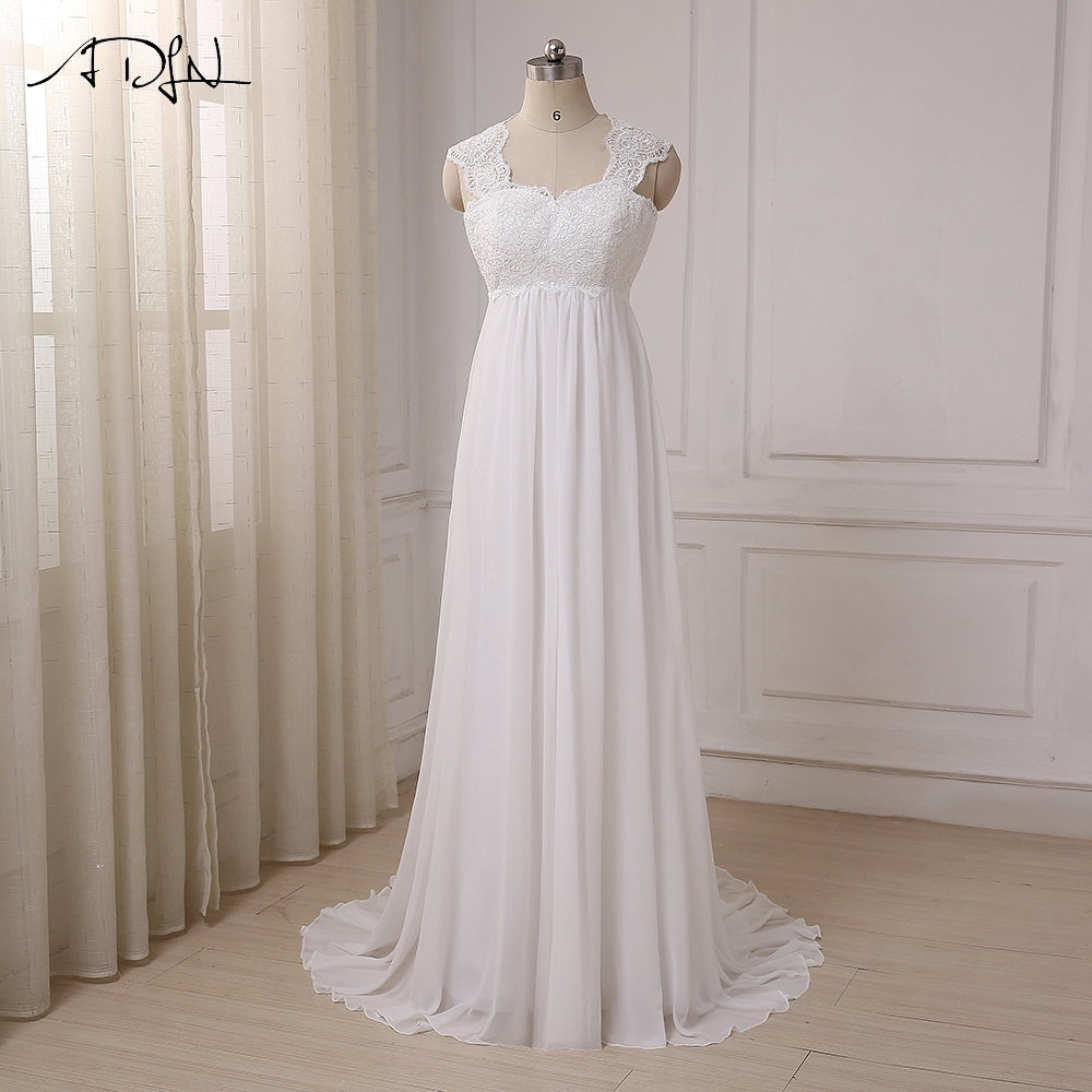 ADLN Cheap Beach Wedding Dresses Vestido De Noiva Cap Sleeve Empire Pregnant Bridal Dress Lace Chiffon Weding Dress In Stock