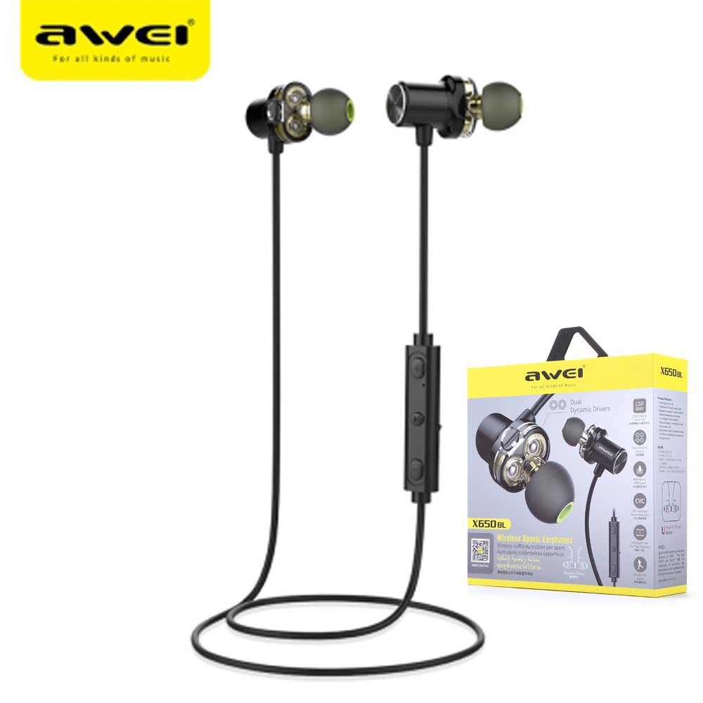 все цены на New Arrival Awei X650BL Bluetooth Wireless Sports Earphones IPX5 Waterproof Dual Drivers With Mic Super Bass Earbuds For IPhone