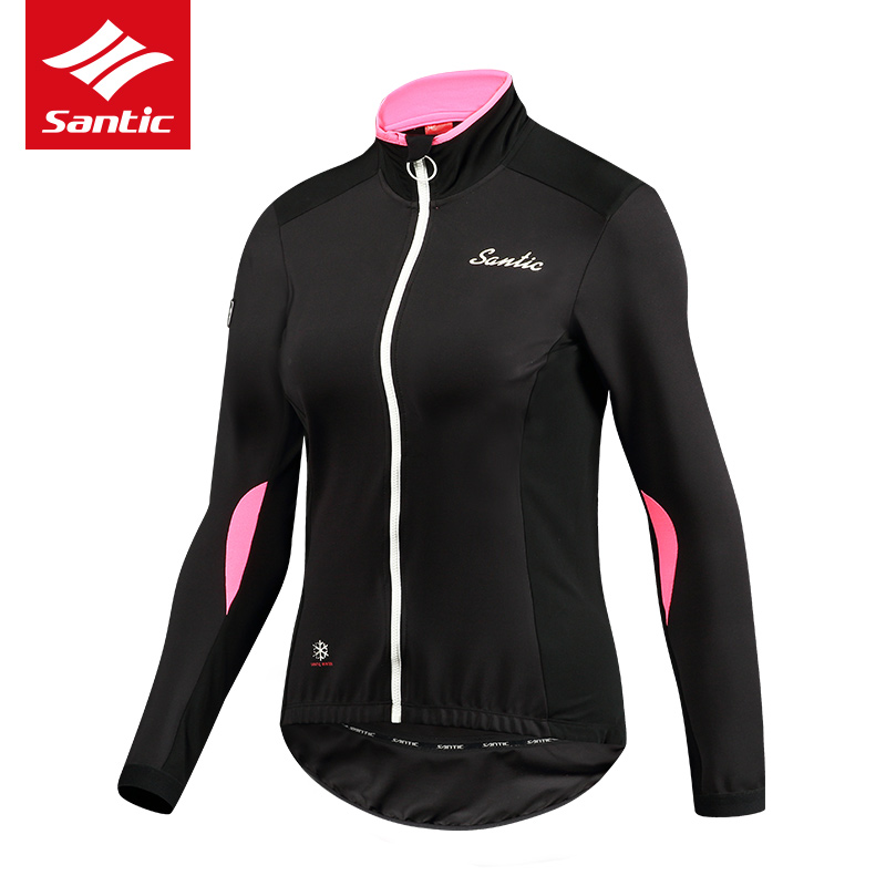 все цены на Santic Autumn Cycling Jacket Women Fleece Thermal Long Sleeve Mountain Road Bike Jacket Windproof Bicycle Jacket Cycle Clothing