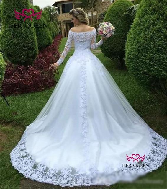 Pure white Long Sleeve Lace Wedding Dress 2019 New Arrival Vestido De Novia Wedding Gowns Off Shoulder Wedding Dresses W0620 2