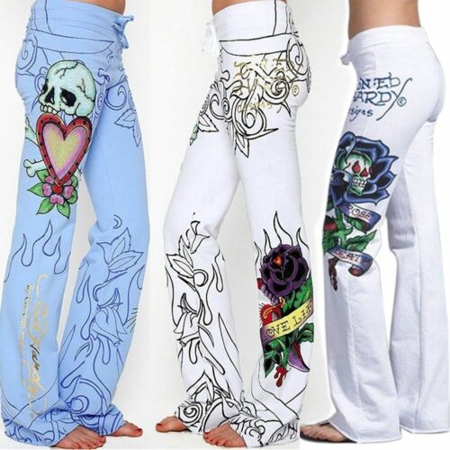 Harjauku High Waist Wide Leg Pant Summer Women Baggy Skull Rose Printed Pants Slim Hippie Boho Trousers Streetwear Plus Size