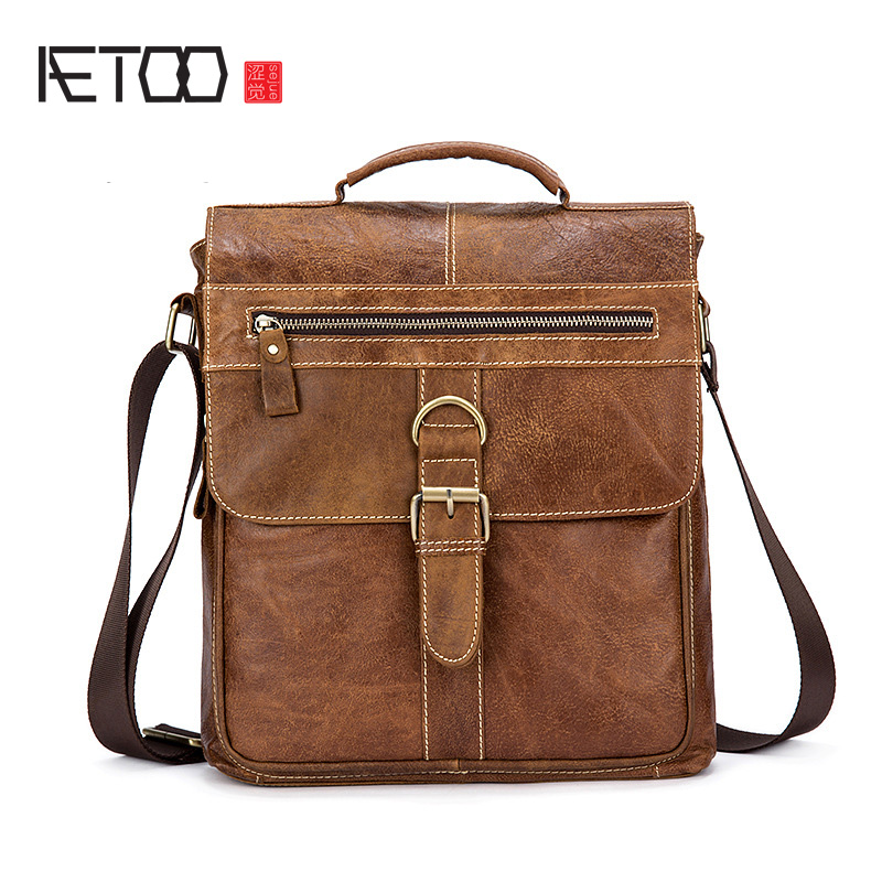 AETOO Genuine leather men's oil-coated wax skin retro men's shoulder Messenger bag head layer of leather business handbag tide leather handbag shoulder bag casual first layer of leather men s oil wax messenger bag korean man bag tide