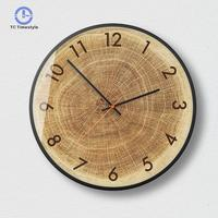 Wood Wall Clock Living Room Modern Minimalist Silent Quartz Watches Creative Bedroom Decoration Accessories Round Wall Clocks
