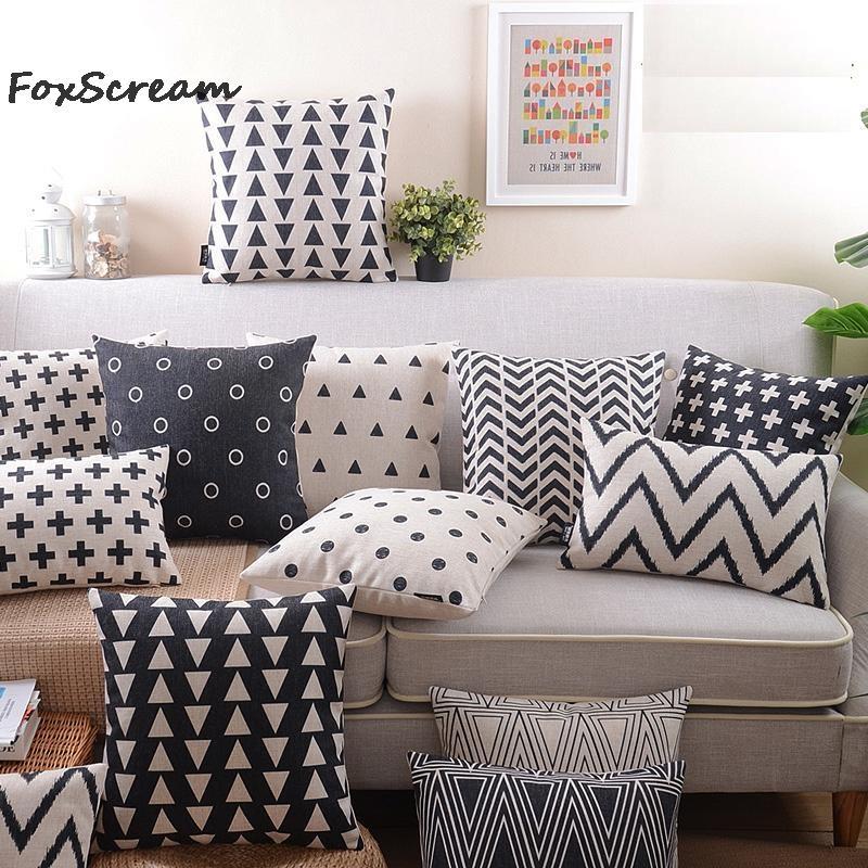 Retro Decorative Pillows Black And White Geometric Throw