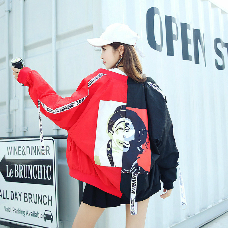 Basic     Jackets   Windbreaker Women Cardigan Long Female   Jacket   College Patchwork Color Ribbon Sun Protection Clothing Coat Summer