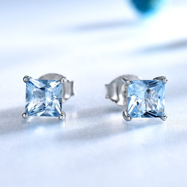 UMCHO Real 925 Sterling Silver Jewelry Created Square Sky Blue Topaz Stud Earrings For Women Elegant Birthday Gift Fine Jewelry