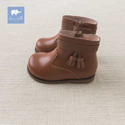 Dave Bella autumn winter girl brown genuine leather fashion boots brand shoes DB6011