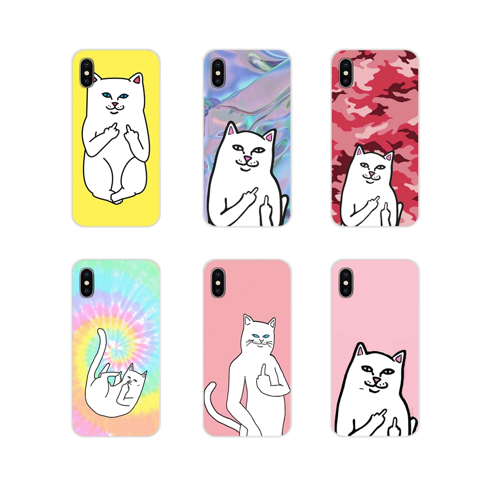 Cute Popular Middle Finger Cat Accessories Phone Cases For Apple iPhone X XR XS MAX 4 4S 5 5S 5C SE 6 6S 7 8 Plus ipod touch 5 6