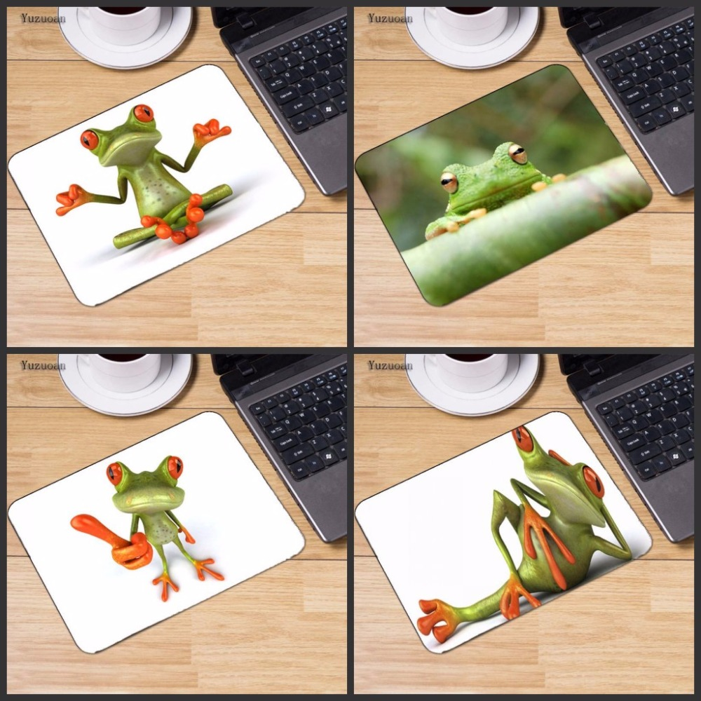 Yuzuoan 4 Pcs Funny Frog Wallpaper Gaming PC Computer Mouse Pad 250*290*2MM NO Locking Edge Rubber Mousepad for Game Player image