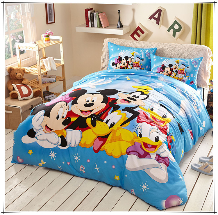 Blue Mickey Mouse bedding 4pcs Bedding Set Full Queen Size