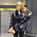 2016 Fashion Casual Women Wool Jackets Long Sleeve Leather Outwear Female Black Coats BC8186-1216