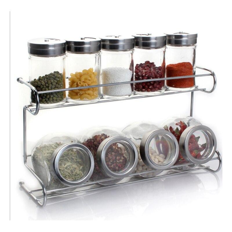 Kitchen supplies glass seasoning jar seasoning jar seasoning rack 10 pieces