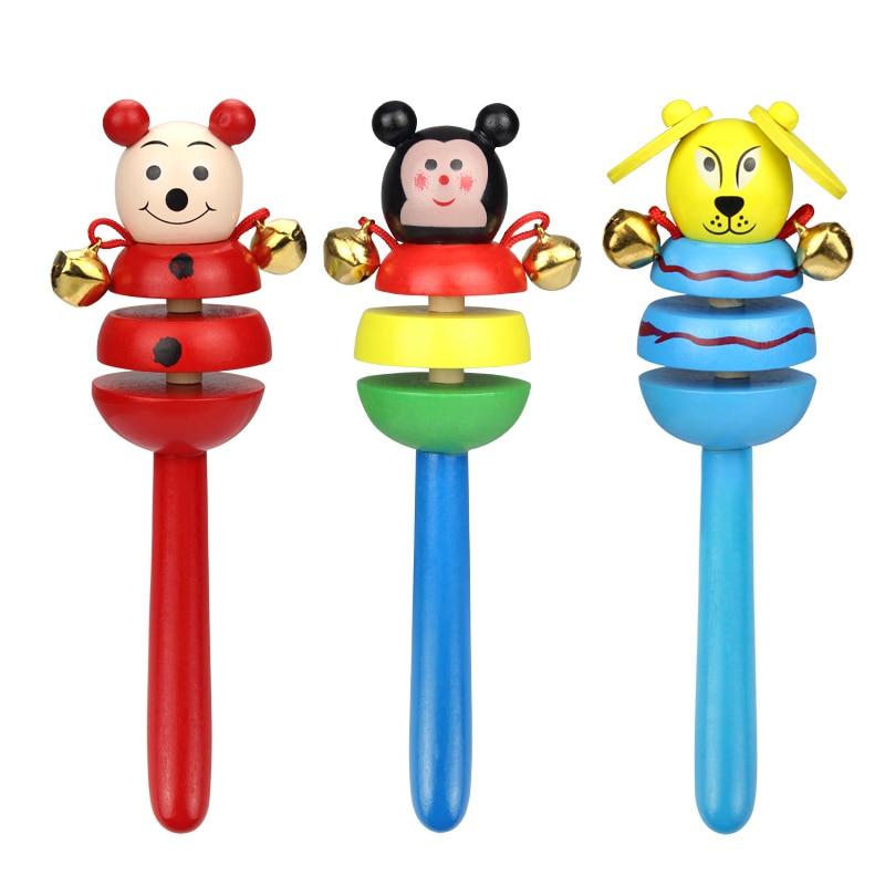 Bebé Juguetes de madera Sonajeros de Dibujos Animados Bebé Handbell - Juguetes para niños - foto 4