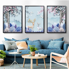 Forest Canvas Painting Deer Animals Nordic Posters Wall Pictures For Living Room And Prints Decor No Frame