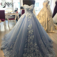 Vintage Floral Lace Evening Dress Elegant Sky Blue Pretty Long Evening Gowns Beaded Pearls Prom Gowns Abiye Abendkleider 2018