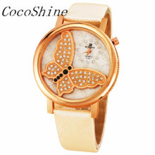 A-898 CocoShine Borboleta Da Forma Das Mulheres Analógico Relógio de Quartzo Pulseira de Couro Strass Relógio de Pulso por atacado Frete grátis